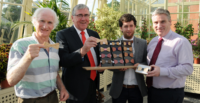 Minister Hayes (second from left) presented the prizes at the annual Third Level Student Wood Awards in the National Botanic Gardens, with (from left): Liam Farrelly, UCD winner of Architecture Category, Gerard Murphy, who represented Coillte, the main sponsors of the awards and Duncan Stewart, chair of the awards' jury.